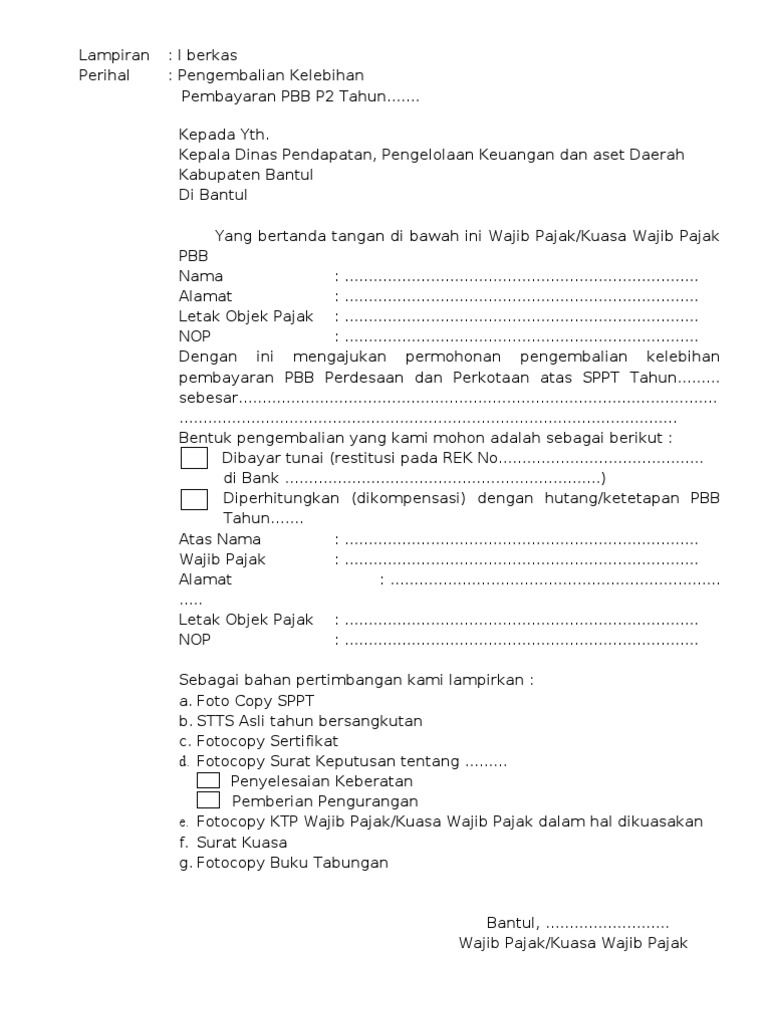 Formulir Permohonan Pengembalian Sppt Pbb