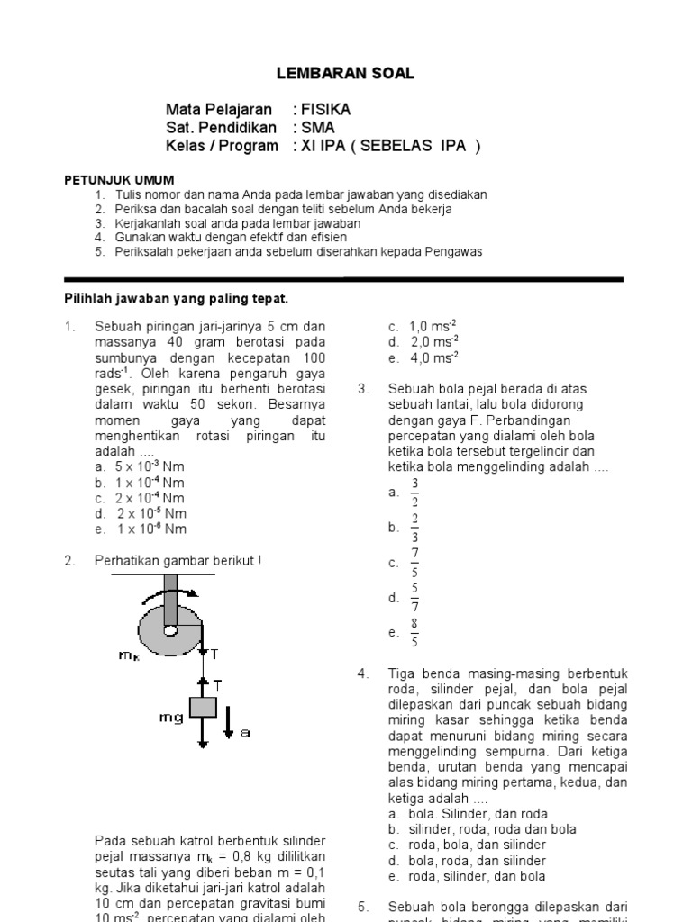 Soal Fisika Xi 3