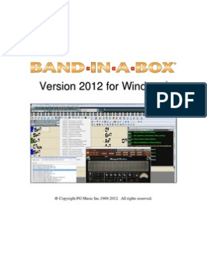 Band in a Box 2012 Manual | Computing And Information Technology