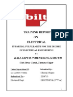 Electrical Training Report