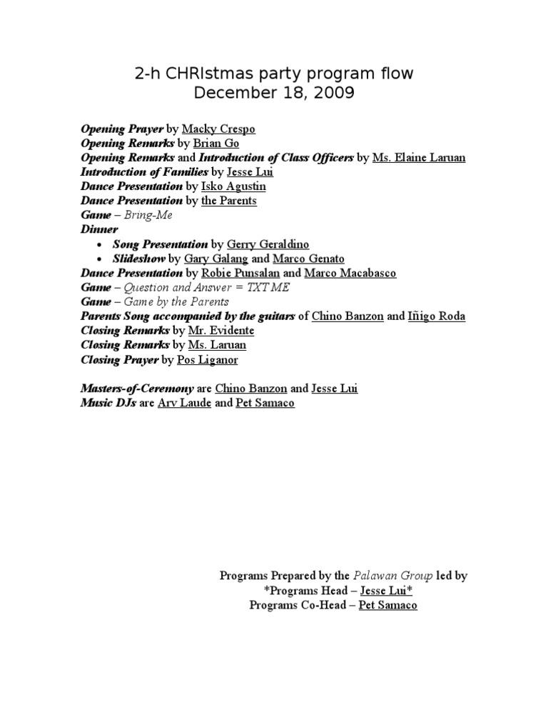 2-h Christmas Party Program Flow