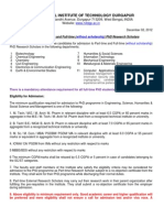 Admission to PhD Programme - Part-Time & Full Time (Without Scholarship) 2012-13 Even Semester