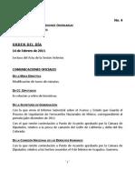 14/02/13 - Orden del día en Cámara de Diputados