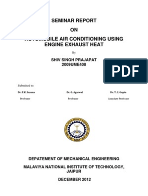 SEMINAR REPORT ON AUTOMOBILE AIR CONDITIONING USING ENGINE