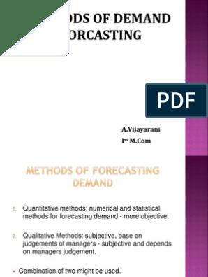 Methods of Demand Forecasting | Forecasting | Marketing