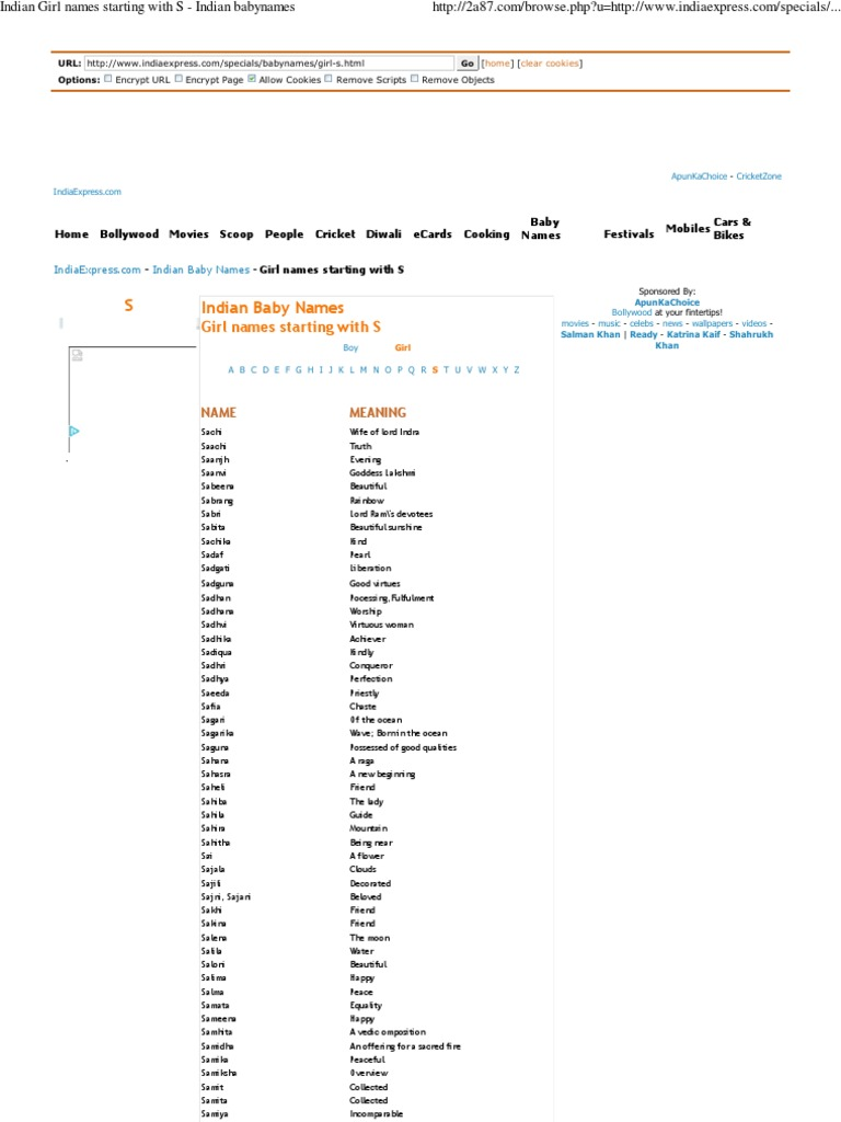 Indian Girl Names Starting With S Indian Babynames Pdf Hindu