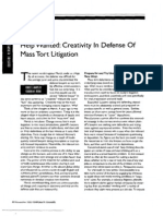 """""""Help Wanted- Creativity in Defense Of Mass Tort Litigation"""" (Corporate Counsel, November 2005)"""