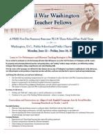 Civil War Washington Teacher Fellows Flyer