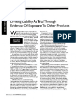 """""""Limiting Liability at Trial Through Evidence of Exposure to Other Products,"""" J. Shelton and K. Borg (Corporate Counsel, Feb. 2005)"""
