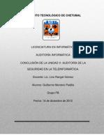 Conclusión unidad5 Auditoria Informatica
