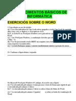 CONHECIMENTOS BÁSICOS DE INFORMÁTICA-EXERCÍCIOS