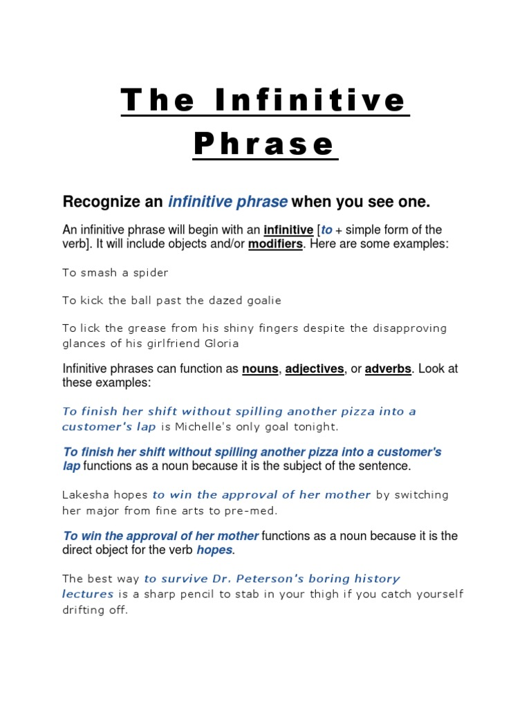 The Infinitive Phrase Adjective Clause