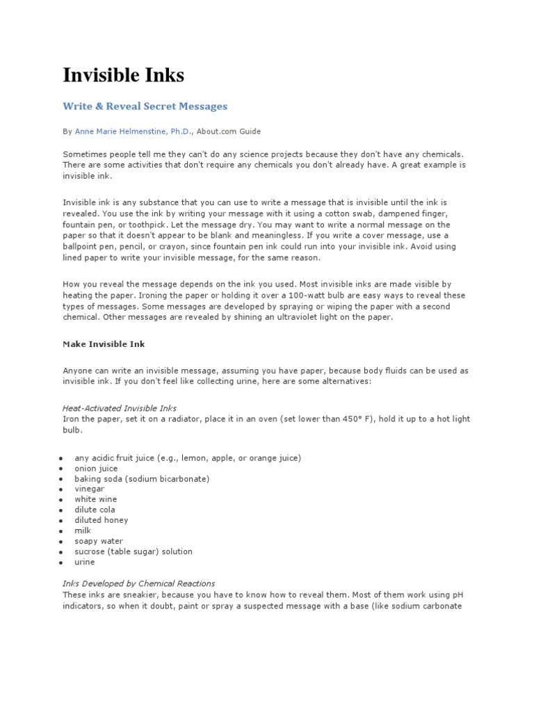Invisible Ink Formulas pdf | Sodium Carbonate | Sodium
