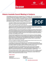 Media Release - Historic Australia Council Meeting in Canberra