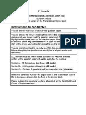 Strategic Management (MBA 7002) Exam Feb 2012 - Past Paper