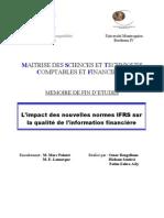 Impact Des Nouvelles Normes IFRS Sur La Qualite de l Information Financiere[1]