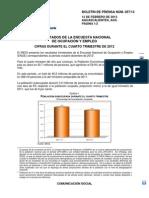 Encuesta Nacional de Ocupación y Empleo 4º trimestre 2012 - Iegi