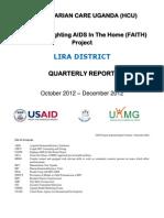 HUMANITARIAN CARE UGANDA. LIRA DISTRICTQUARTERLY REPORTOctober 2012 – December 2012