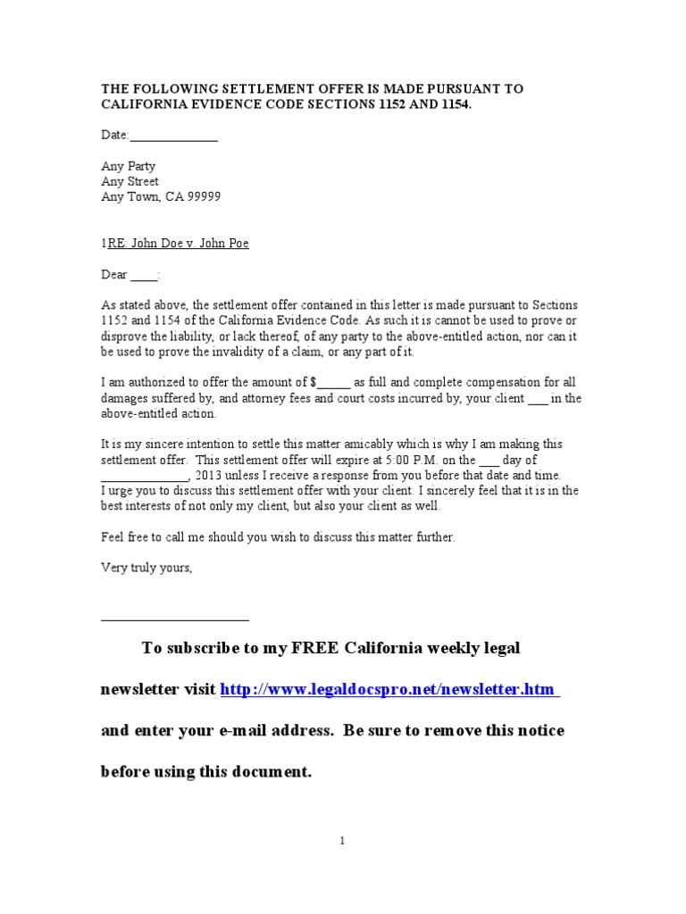 Sample California Settlement Offer Letter