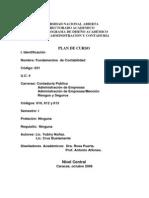 Plan De Curso. Fundamentos De Contabilidad (631) I Sem. Contaduría Pública UNA