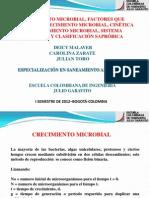 CRECIMIENTO MICROBIAL, FACTORES QUE AFECTAN EL CRECIMIENTO MICROBIAL, CINÉTICA DEL CRECIMIENTO MICROBIAL, SISTEMA SAPRÓBICO Y CLASIFICACIÓN SAPRÓBICA