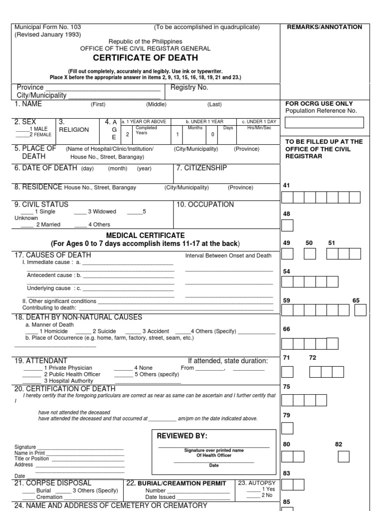 Municipal form 103 cremation death certificate yadclub Gallery