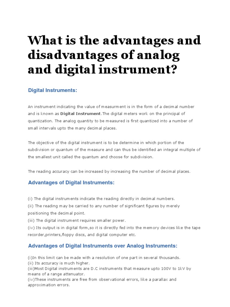 What Is The Advantages And Disadvantages Of Analog And Digital