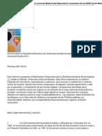 El Informe Epu Sobre Violencia Contra Las Mujeres Del Observatorio Venezolano de Los Ddhh de Las Mujeres