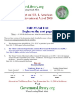 House Conference Report on the American Recovery and Revitalization Act of 2009; 111th Congress, First Session, Economic Stimulus Act Published in Federal Register