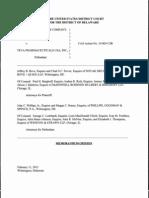 Bristol-Myers Squibb Company v. Teva Pharmaceuticals USA, Inc., C.A. No. 10-805-CJB (D. Del. Feb. 11, 2013).