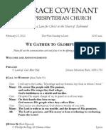 Worship Bulletin February 17, 2013
