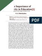 Dobrolyubov on Education