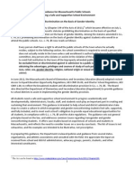Guidance for Massachusetts Public Schools Creating a Safe and Supportive School Environment Nondiscrimination on the Basis of Gender Identity
