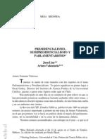 Linz; Valenzuela - Presidencialismo, Semipresidencialismo y Parlamentarismo