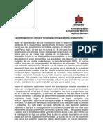 Investigacion en Ciencia y Tecnologia Como Paradigma de Desarrollo