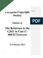 European Copyright Society Opinion on Svensson