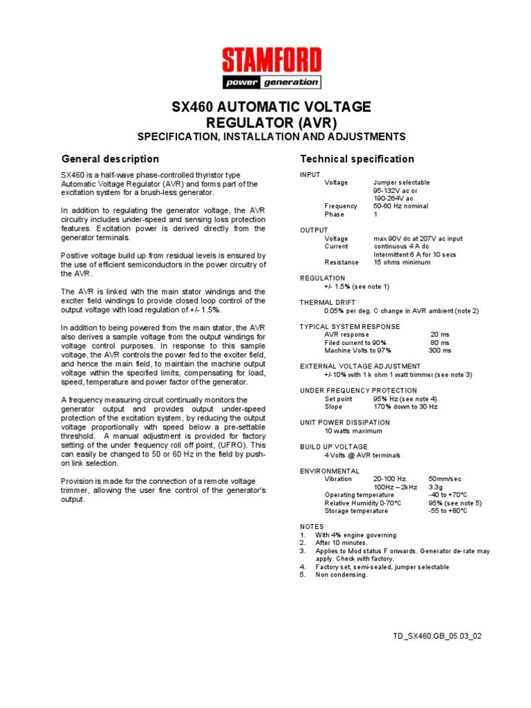 Voltage Regulator Stamford Sx460 Avr