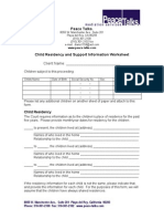 Child Residency and Support Information Worksheet