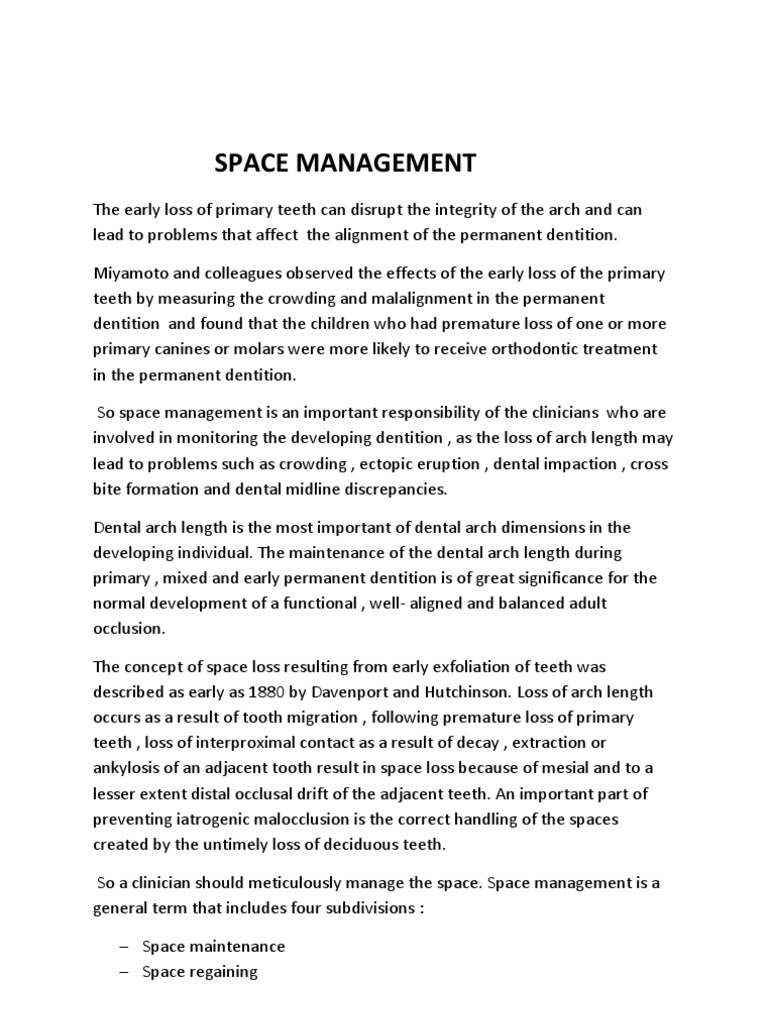 Space Management | Tooth | Dentistry Branches