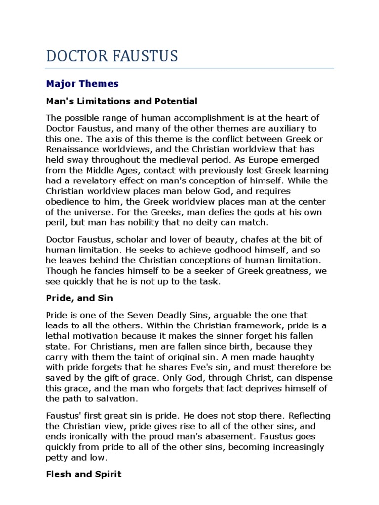 summary of doctor faustus Faustus becomes dissatisfied with his studies of medicine, law, logic and  theology therefore,  home literature notes doctor faustus play summary.