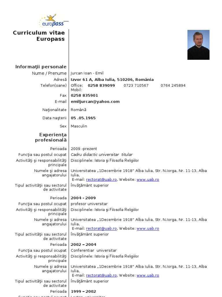 curriculum vitae europass in germana
