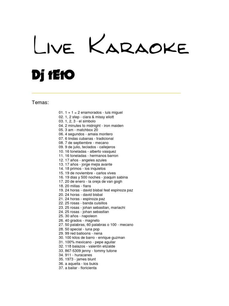 Lista karaoke for Cancion jardin de rosas en ingles