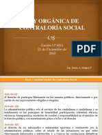 Presentación ley de contraloria social Venezuela gaceta oficial 6.011