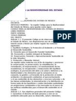Codigo Para La Biodiversidad Del Estado de Mexico