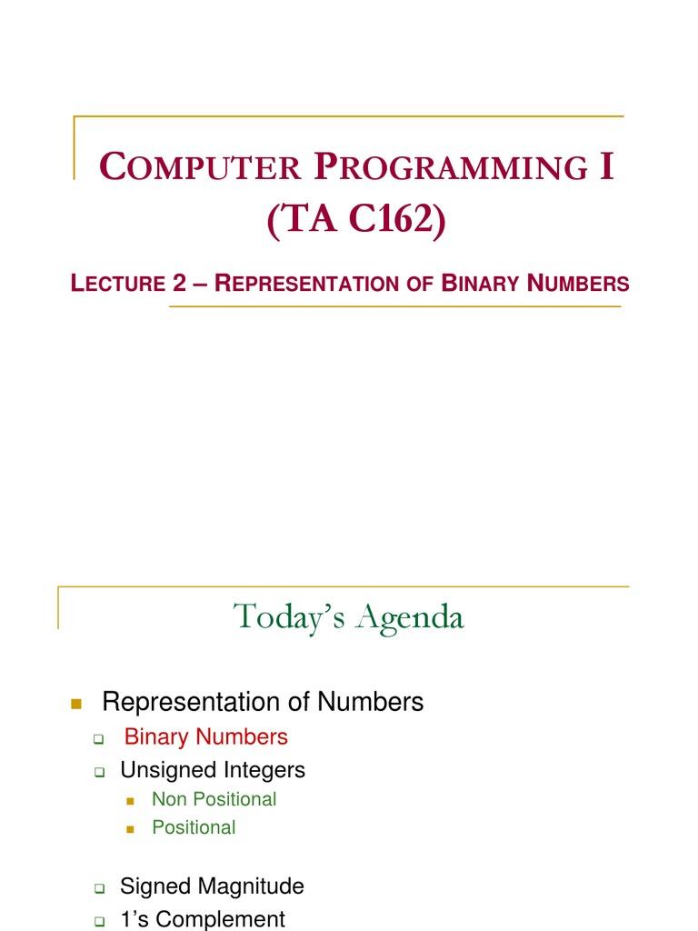 worksheet Representation Of Integers lect2 number representation data type bit