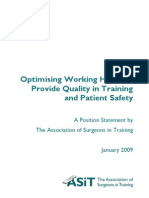 Optimising Working Hours to Provide Quality in Training and Patient Safety, Position Statement from the Association of Surgeons in Training.pdf