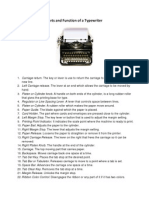parts and function of a typewriter