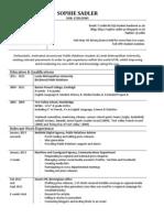 Sophie Sadler's CV - Updated as of January 2013