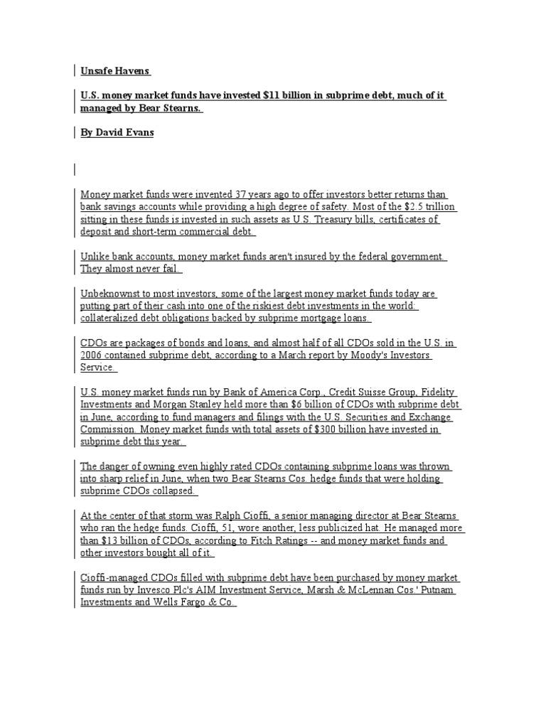 Unsafe Havens | Collateralized Debt Obligation | Money Market Fund