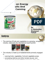 Energy usage in Canning Industry
